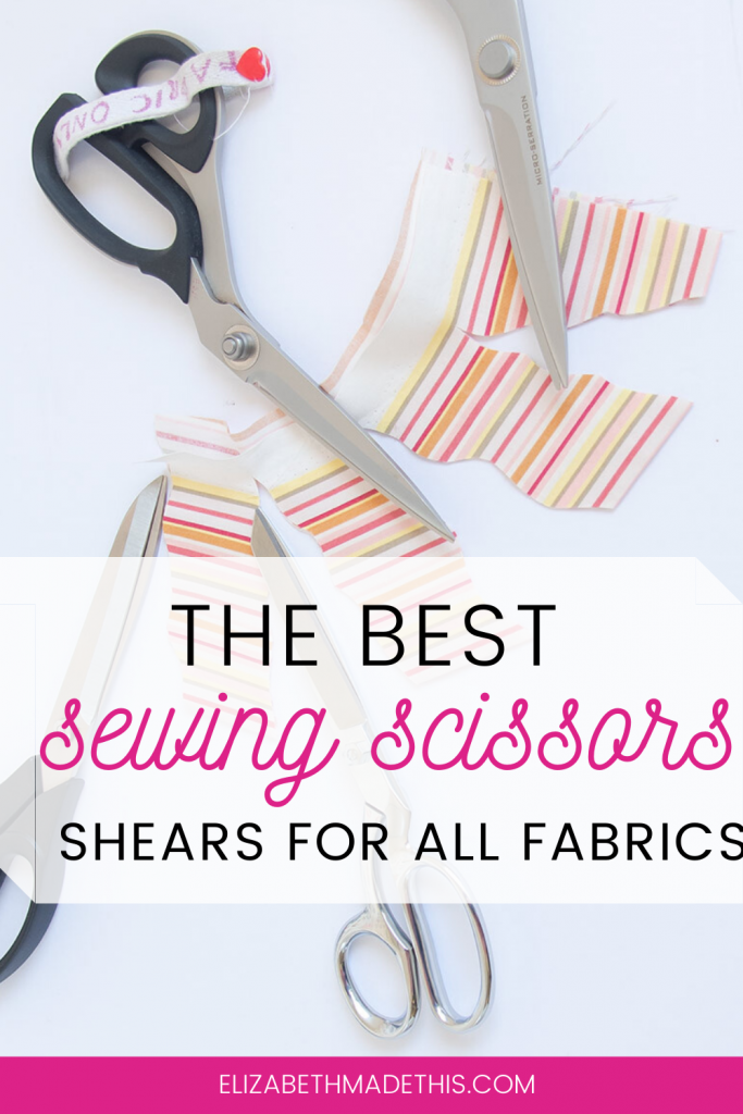 "Pinterest image: ""the best sewing scissors"" with scissors and cotton"