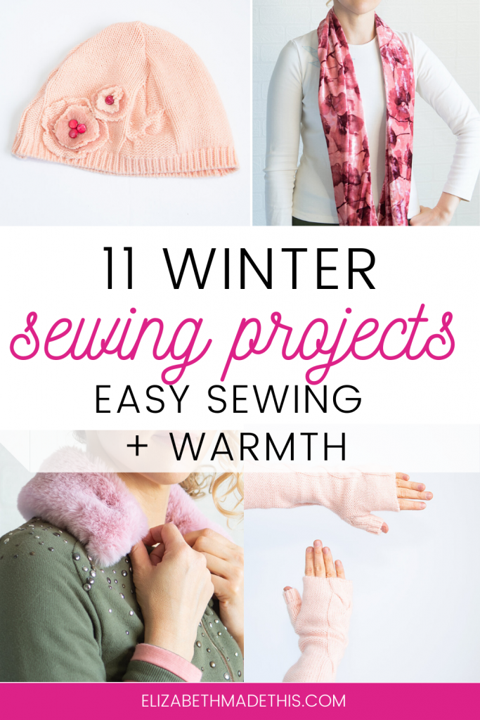 collage of winter sewing projects