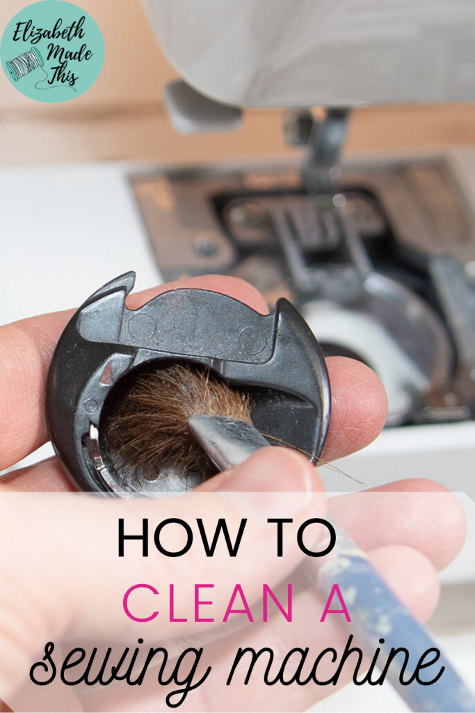 How to clean a sewing machine with image of wiping out bobbin case