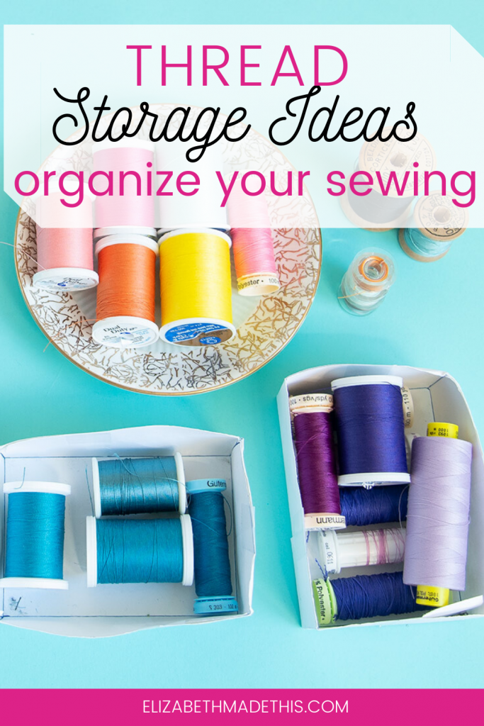 """Thread storage ideas"" graphic with assortment of thread"