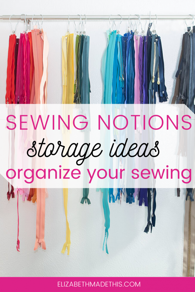 "Pinterest image: ""sewing notions storage ideas"" with hanging zippers"