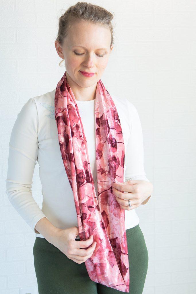 velvet infinity scarf worn long