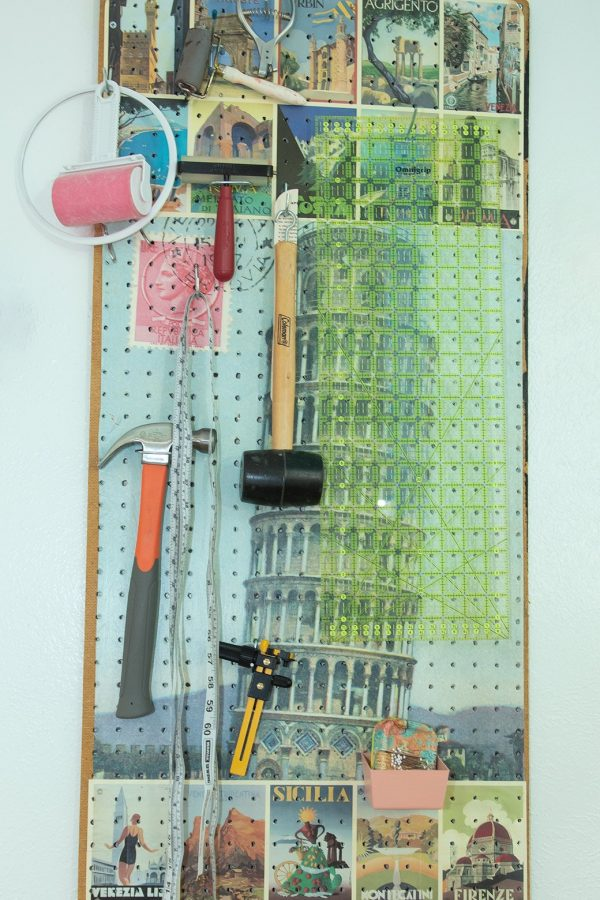 pegboard for sewing room