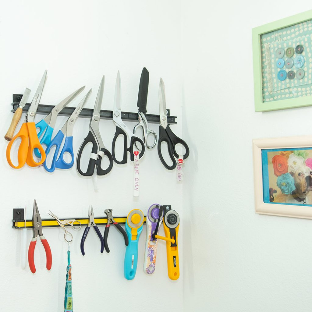 magnetic racks for scissors in sewing room