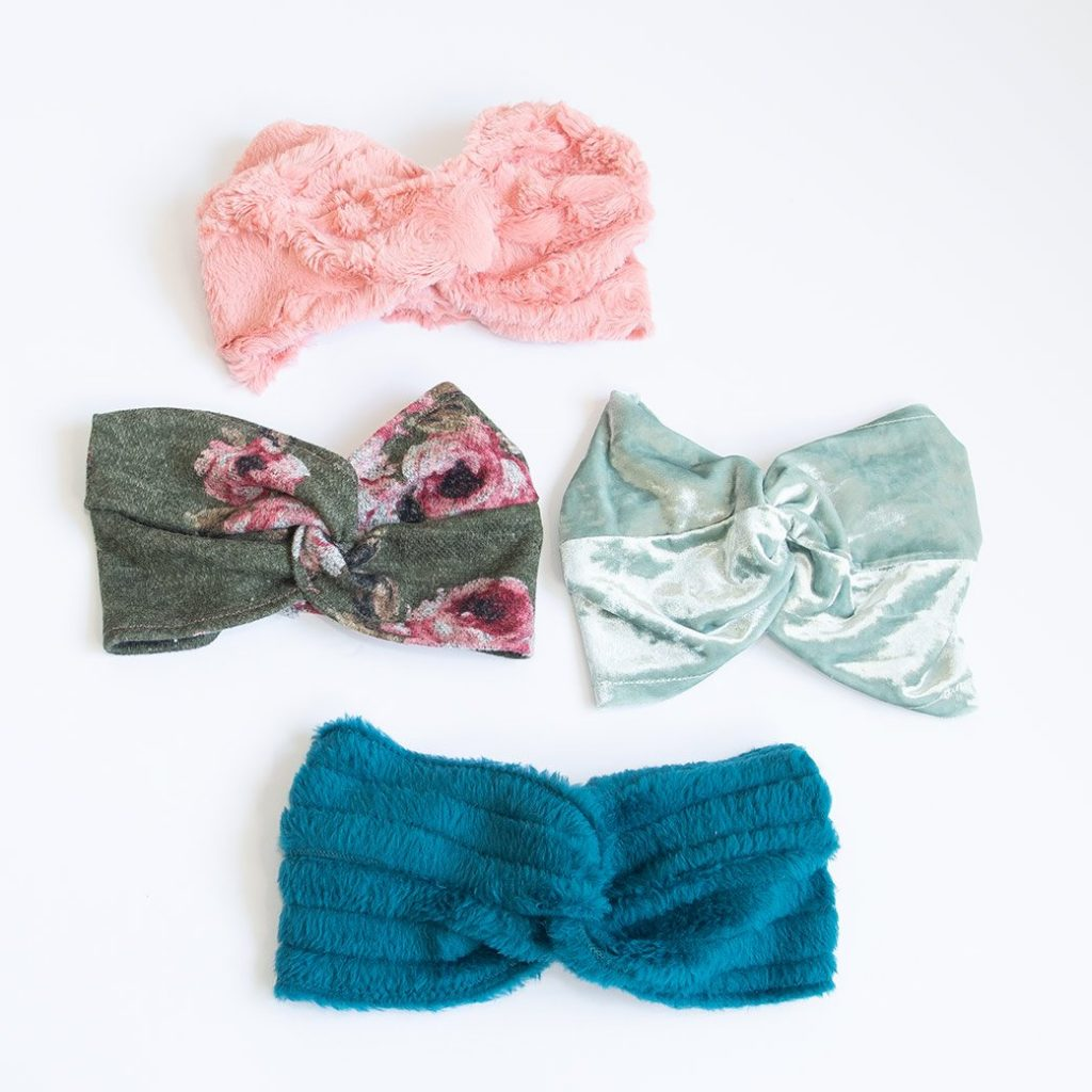 collection of twist headbands in various knits