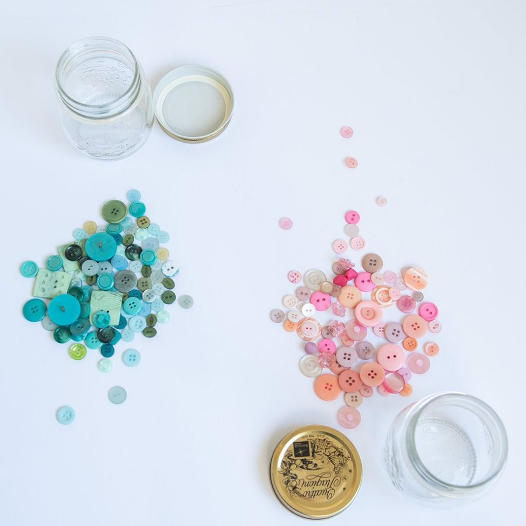 sorting buttons for sewing room storage