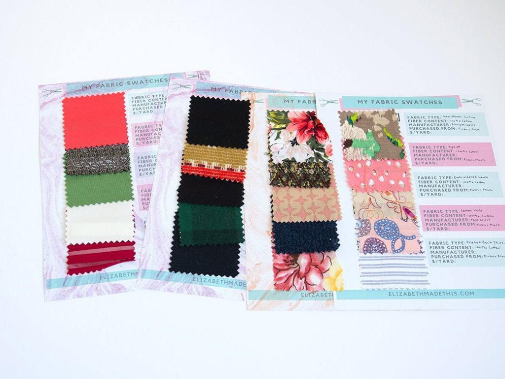 sets of fabric swatches