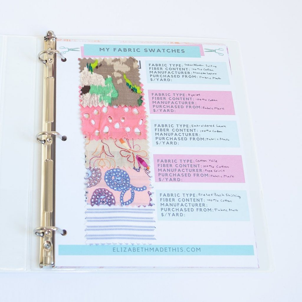 DIY fabric swatch book