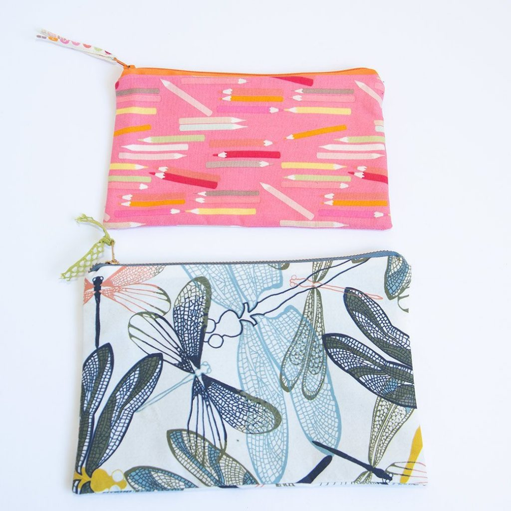 DIY zipper bags made with serger and sewing machine
