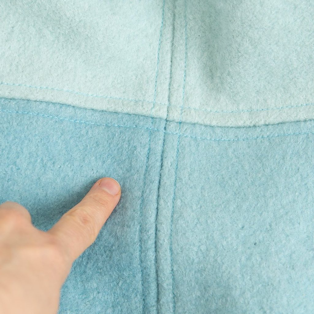 topstitching on boiled wool