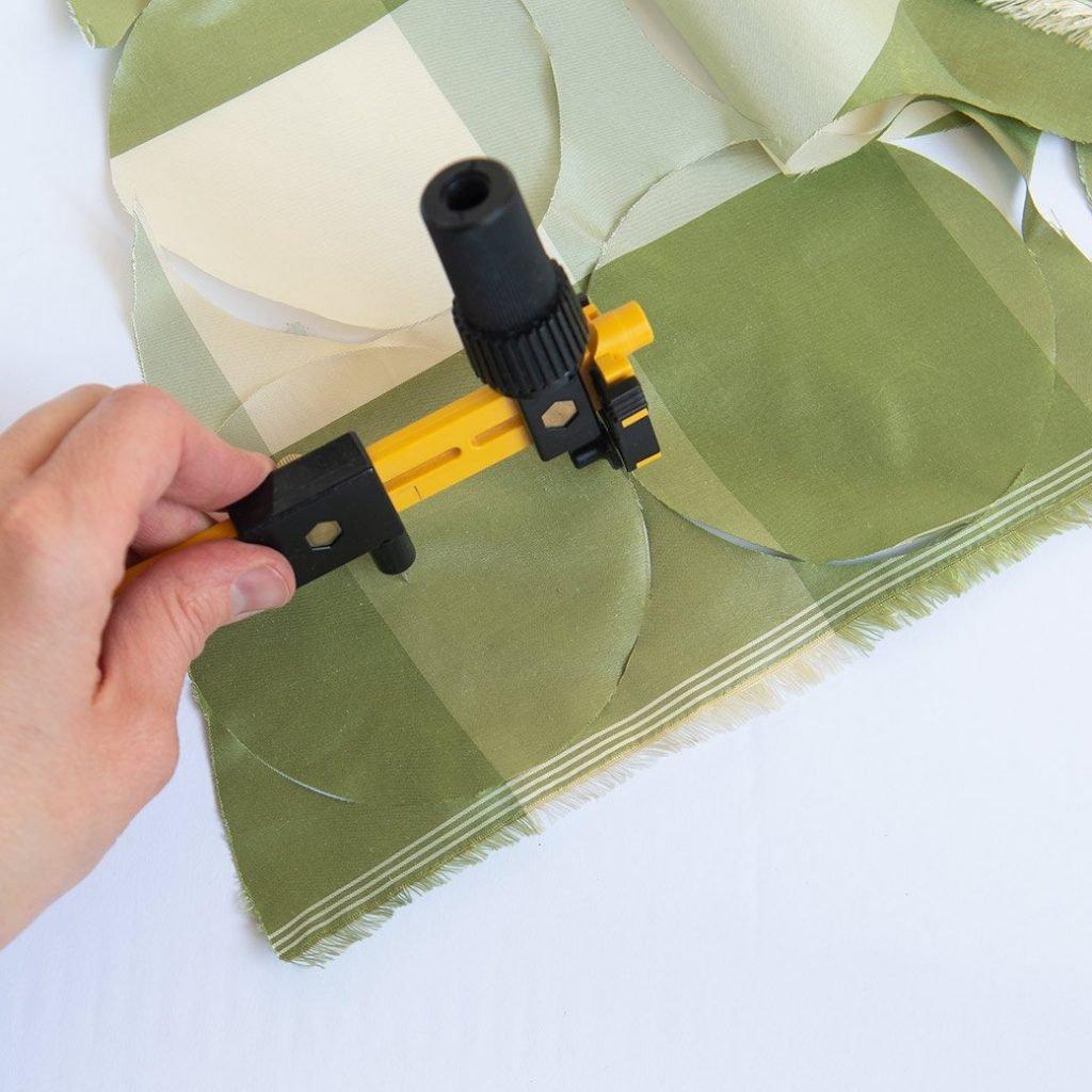 olfa circle rotary cutter and fabric