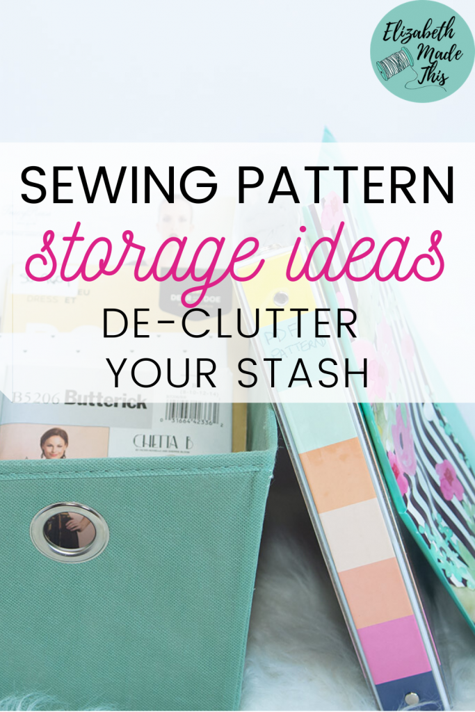 sewing pattern storage ideas with sewing patterns in basket, book and binder