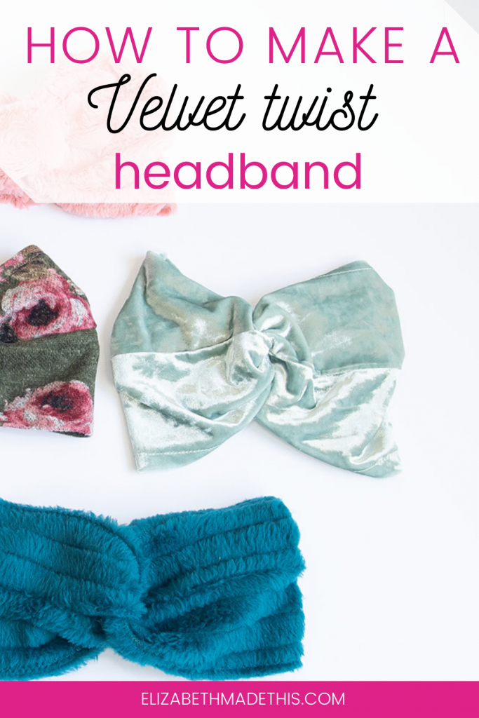 Pinterest image: how to make a velvet twist headband with velvet headband