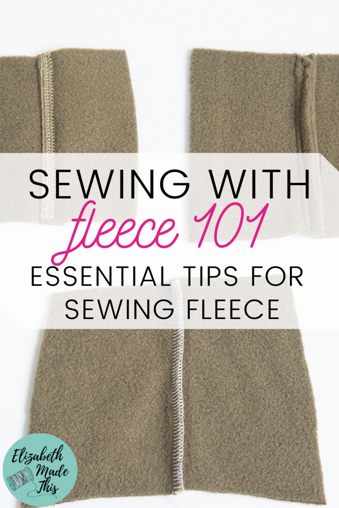 "Pinterest image: ""sewing with fleece 101"" with fleece samples"
