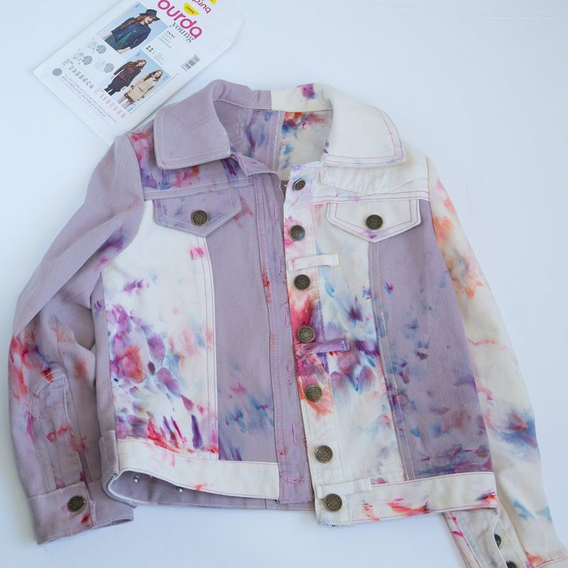 ice dye burda 7018 denim jacket