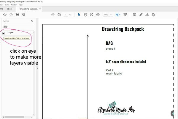 layers on pdf sewing pattern