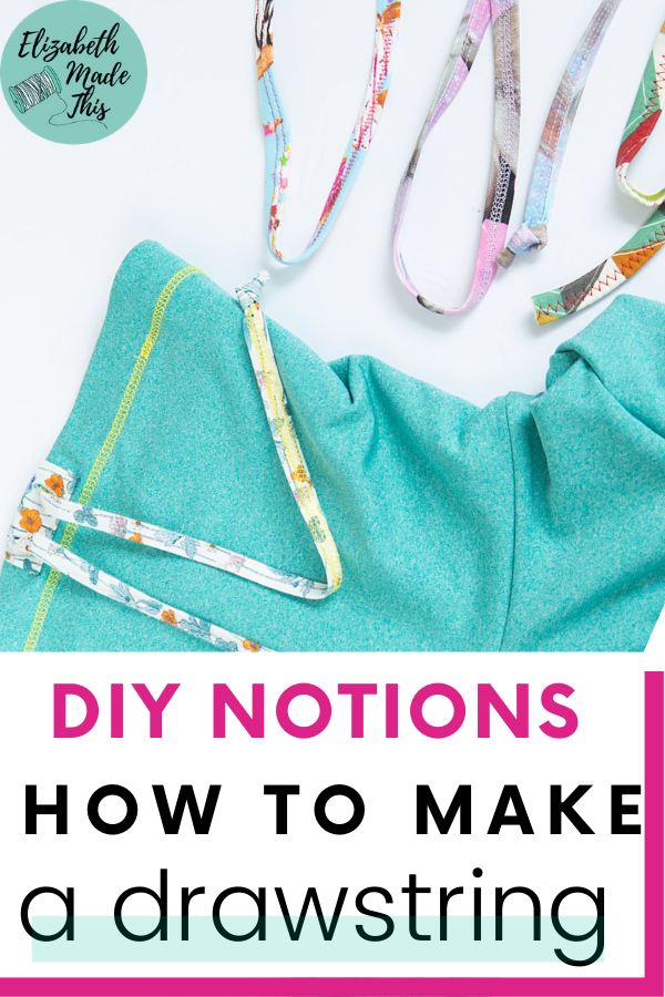 "Pinterest image: ""how to make a drawstring"" diy cowl with drawstrings"