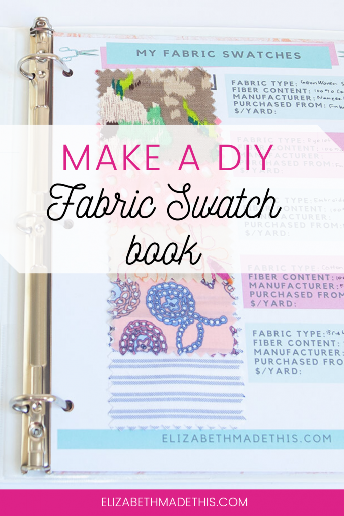 "Pinterest image: ""make a DIY fabric swatch book"" with pic of fabric swatches in binder"