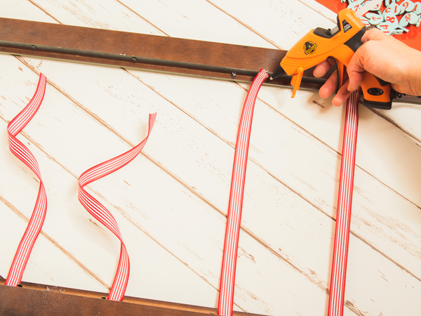 gluing ribbons to frame