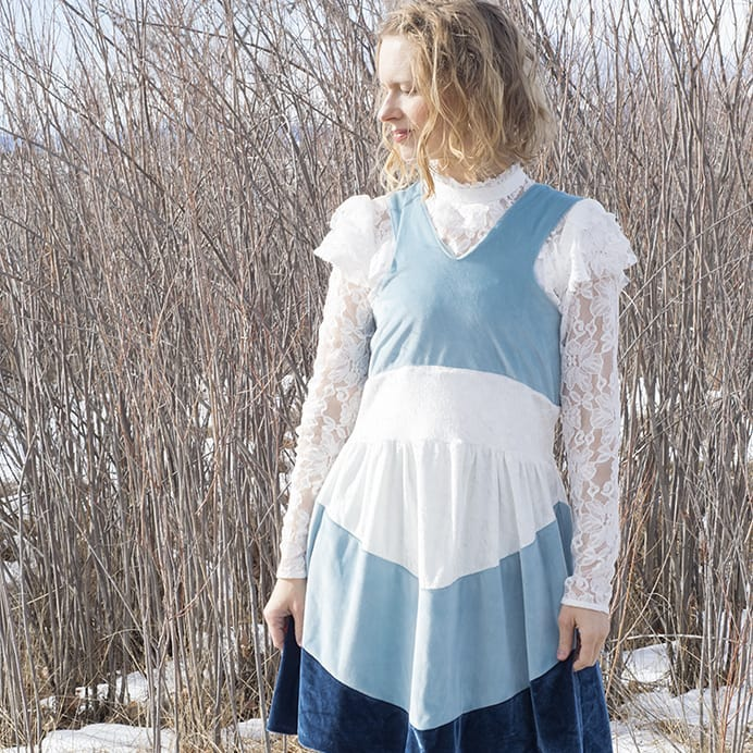 colorblocked stretch velvet dress