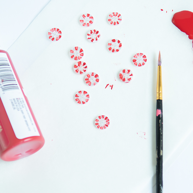painting peppermint buttons