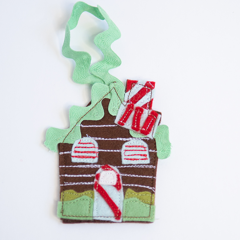 stitched gingerbread house ornament