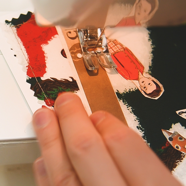 sewing paper to card