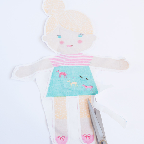 trimming a DIY doll