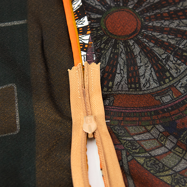 stitched down ends on an invisible zipper