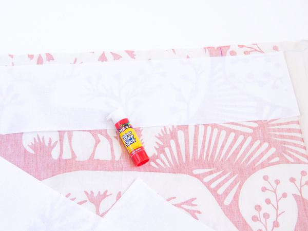 adding buckram to DIY grommet curtains