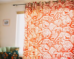 how to make curtains with grommets, finished curtain
