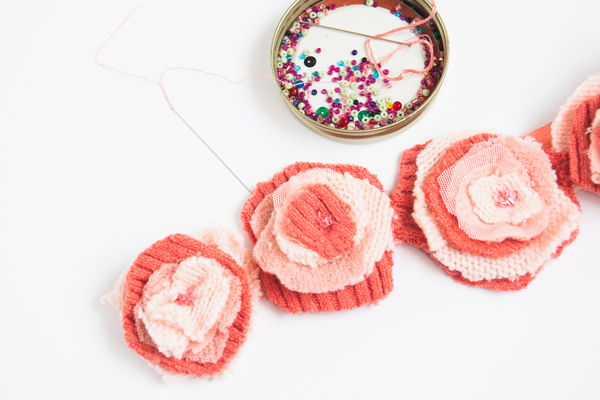 beading on fabric flowers