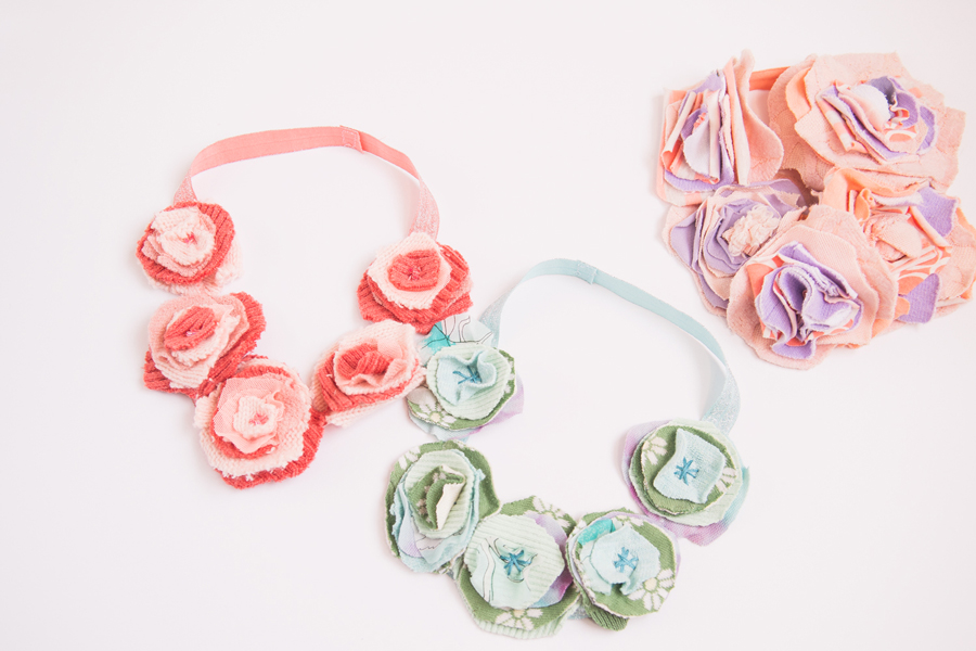 finished DIY flower headbands