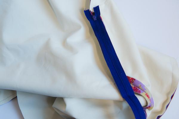 zipper on top of seam allowances