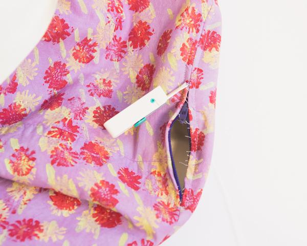 seam ripper to expose zipper