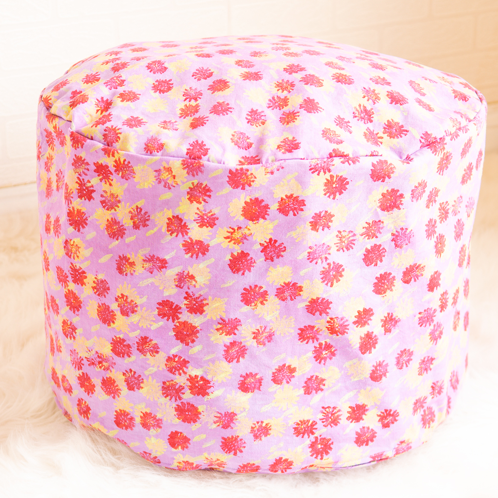 finished DIY floor pouf